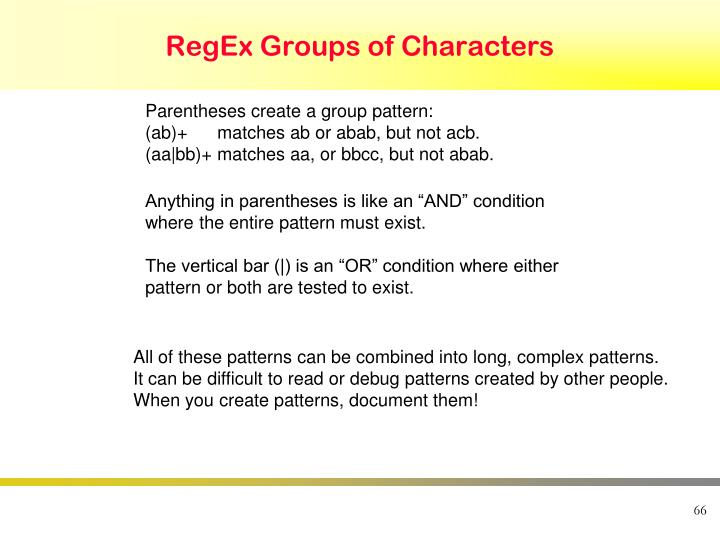 RegEx Groups of Characters