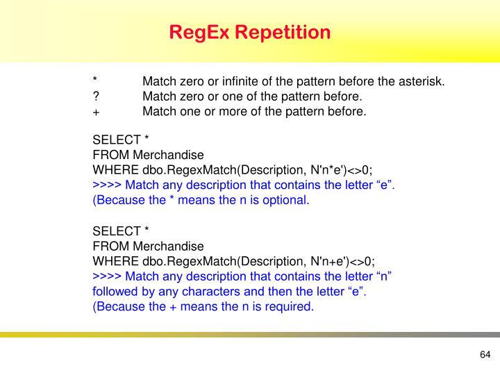 RegEx Repetition