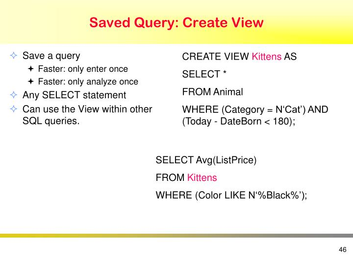 Saved Query: Create View