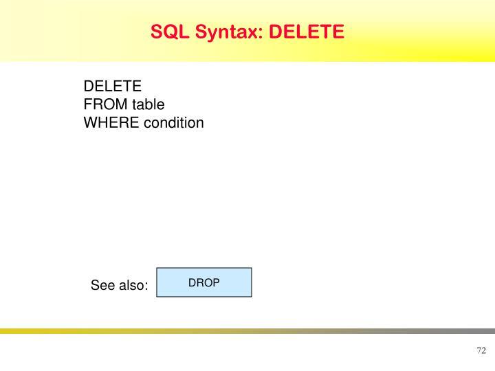 SQL Syntax: DELETE