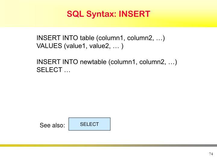 SQL Syntax: INSERT