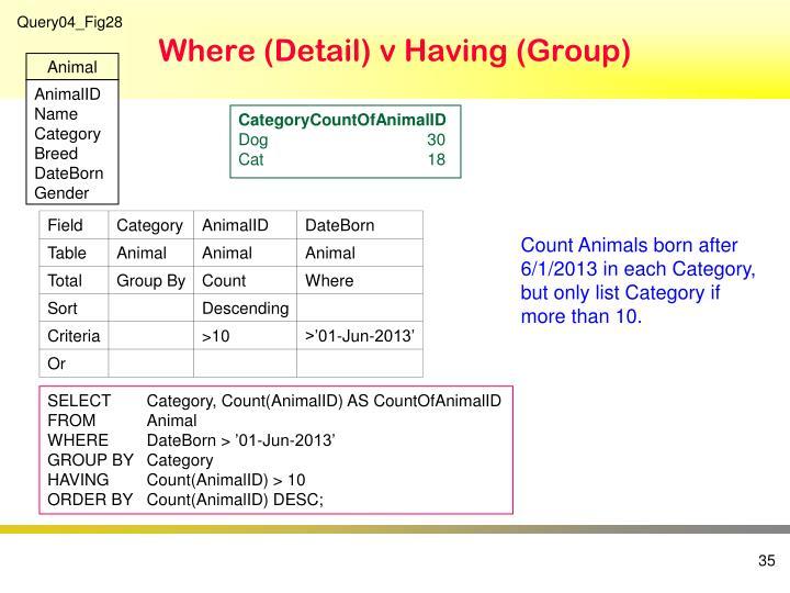 Where (Detail) v Having (Group)