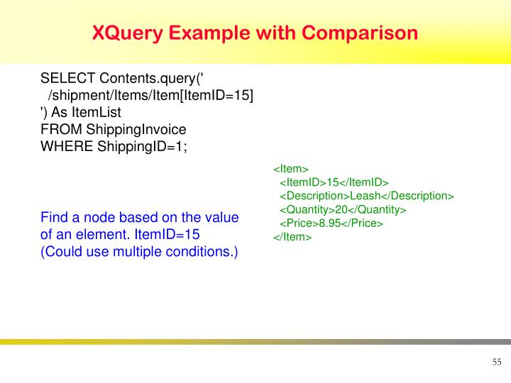 XQuery Example with Comparison