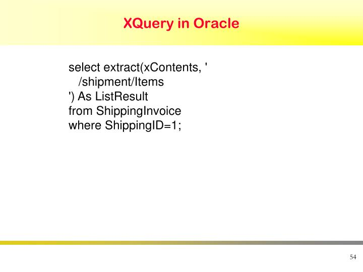 XQuery in Oracle