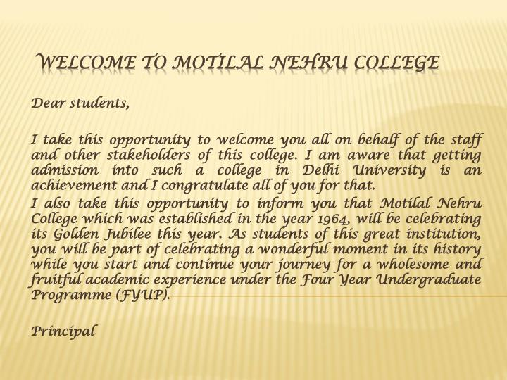 welcome to motilal nehru college n.
