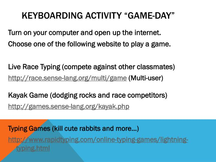 keyboarding activity game day