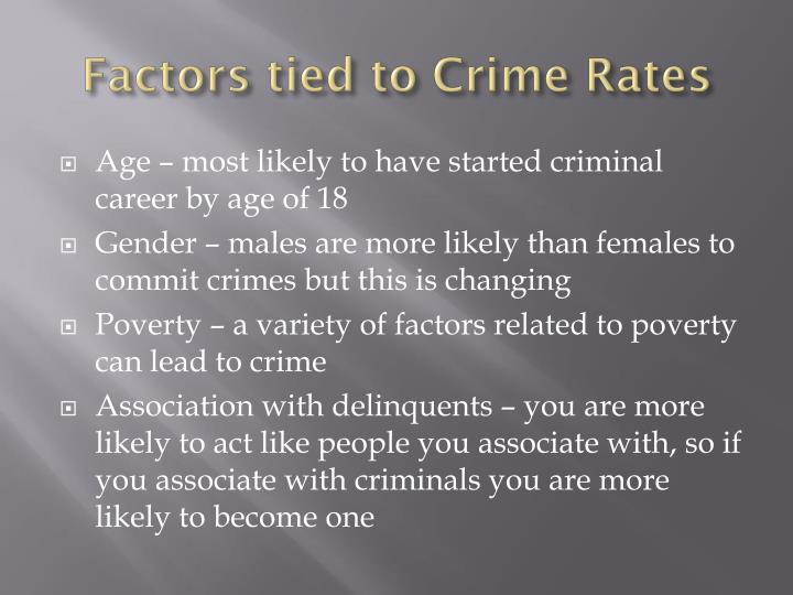 Factors tied to Crime Rates