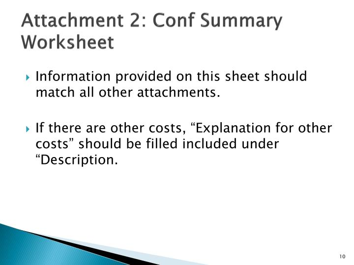 Attachment 2: Conf Summary Worksheet