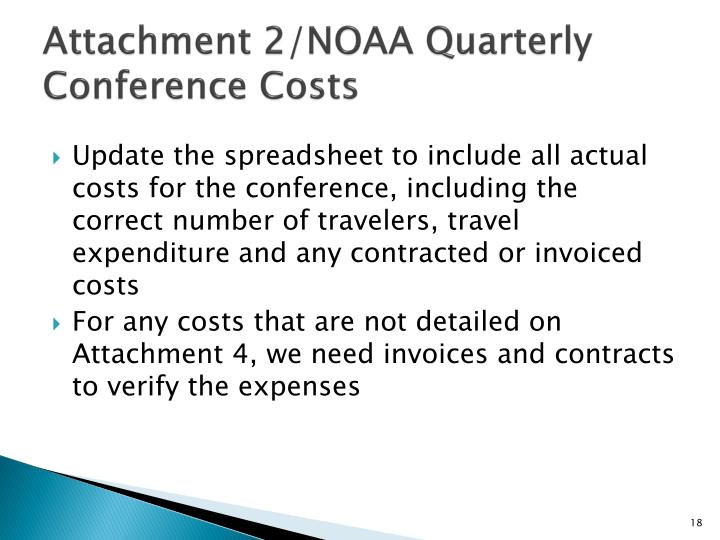 Attachment 2/NOAA Quarterly Conference Costs