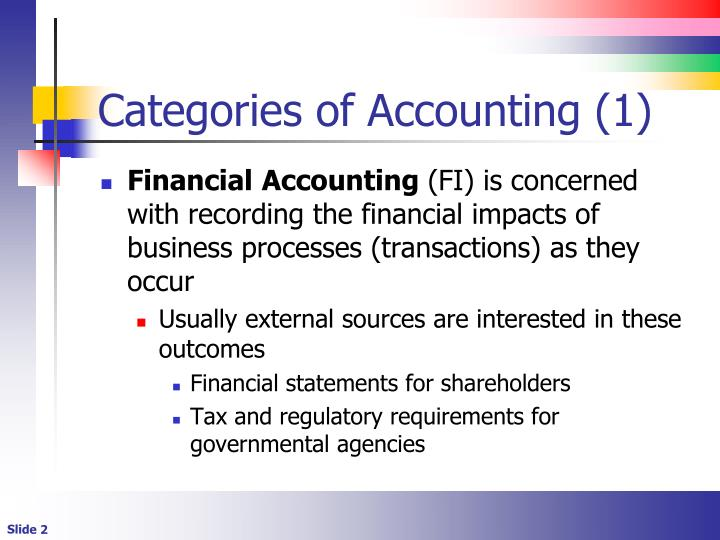 Categories of accounting 1