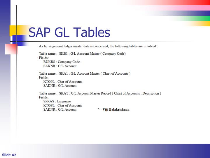 SAP GL Tables