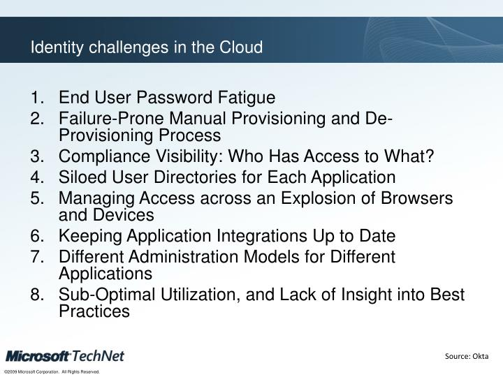 Identity challenges in the Cloud
