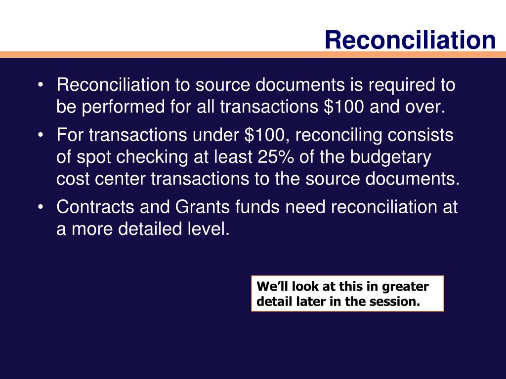PPT - Welcome to PST130: Reconciliation PowerPoint