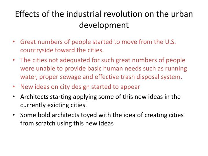 Effects of the industrial revolution on the urban development