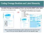 coding overage booklets and label hierarchy