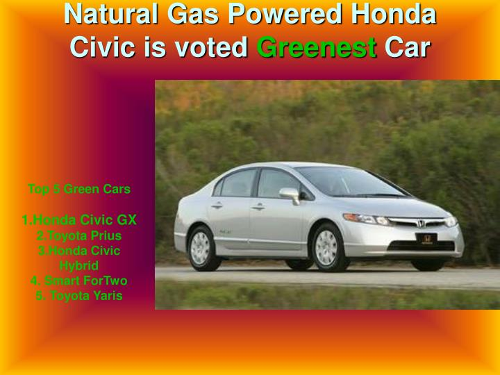 Natural Gas Powered Honda Civic is voted