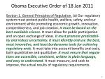 obama executive order of 18 jan 2011