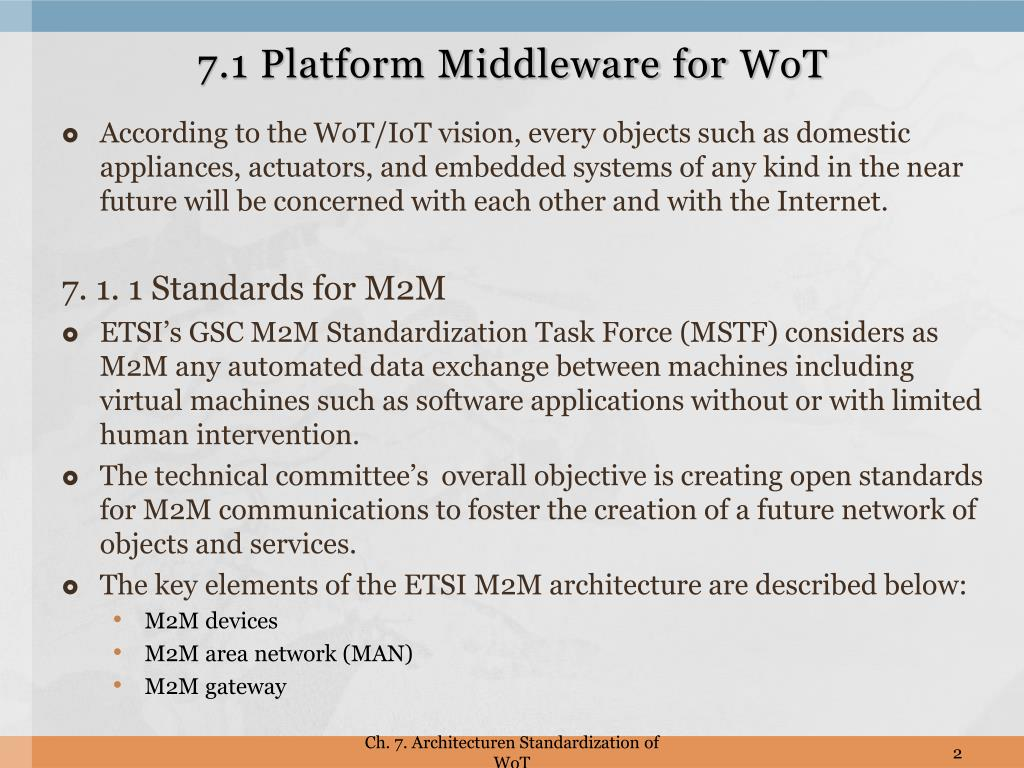 PPT - Ch  7  Architecture Standardization for WoT PowerPoint