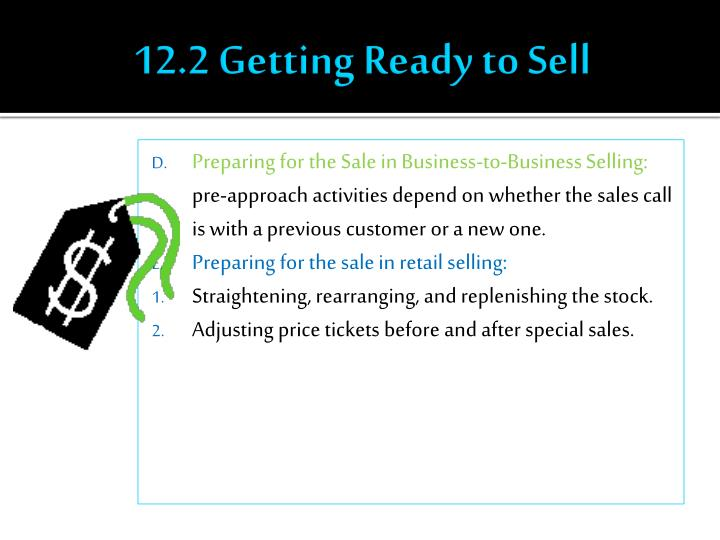 12.2 Getting Ready to Sell
