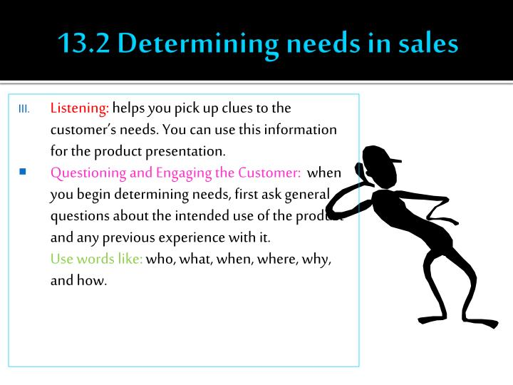 13.2 Determining needs in sales