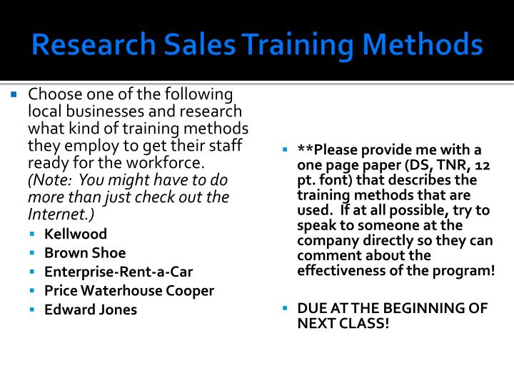 Research Sales Training Methods