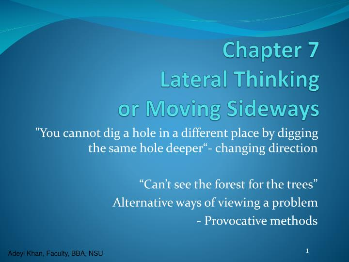 chapter 7 lateral thinking or moving sideways n.