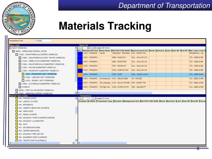Materials Tracking