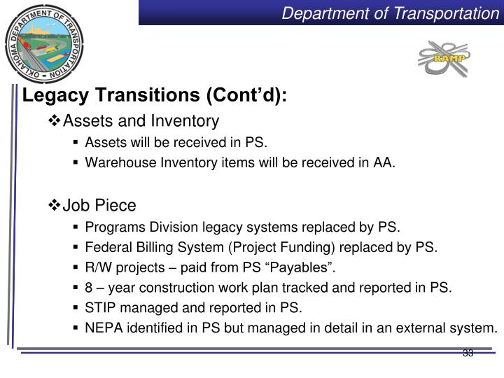 Legacy Transitions (Cont'd):