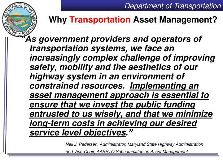Why transportation asset management
