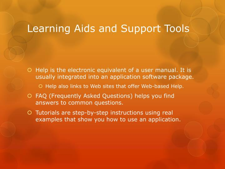 Learning Aids and Support Tools