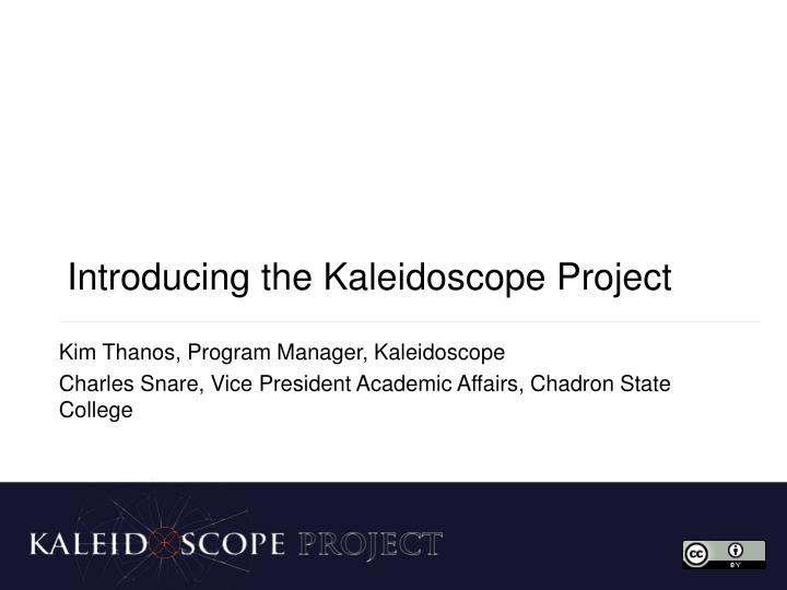 Introducing the kaleidoscope project