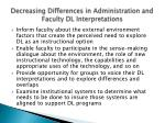 decreasing differences in administration and faculty dl interpretations