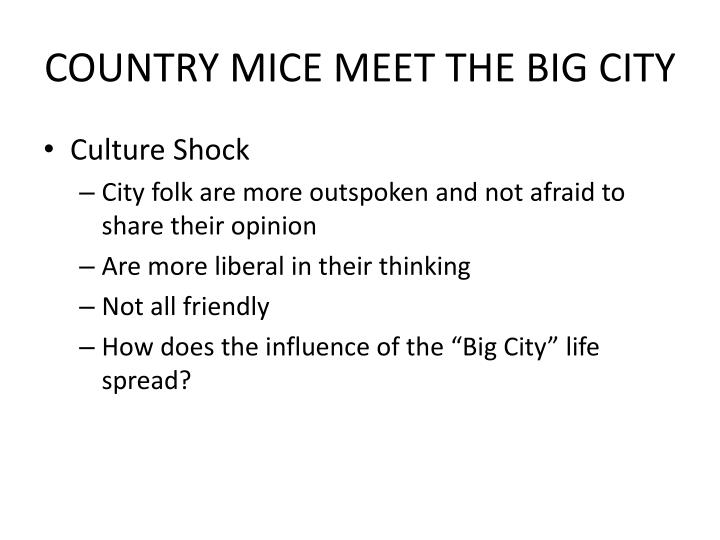 COUNTRY MICE MEET THE BIG CITY