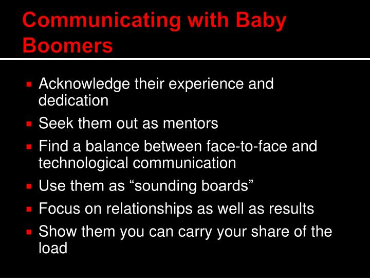 Communicating with Baby Boomers