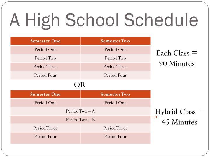 A high school schedule