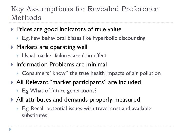 Key Assumptions for Revealed