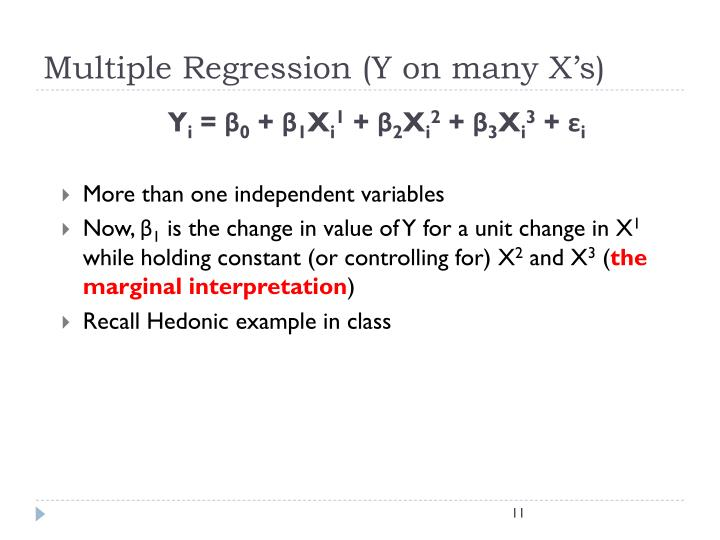 Multiple Regression (Y on many X's)