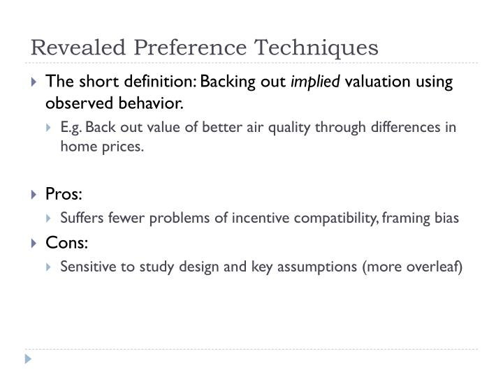 Revealed Preference Techniques