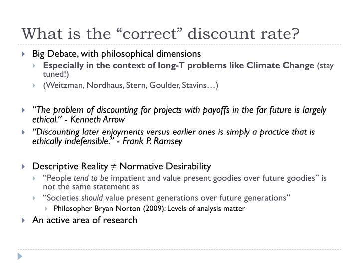 """What is the """"correct"""" discount rate?"""