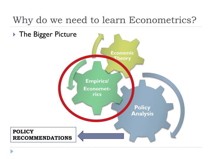 Why do we need to learn Econometrics?