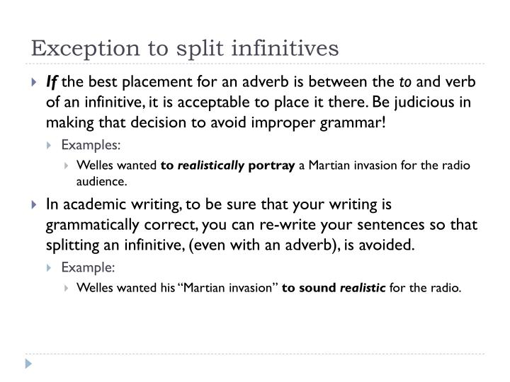 Exception to split infinitives
