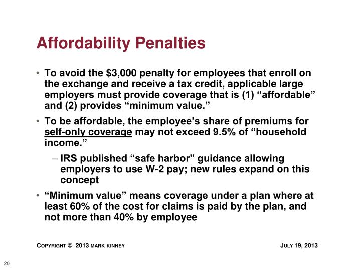 Affordability Penalties