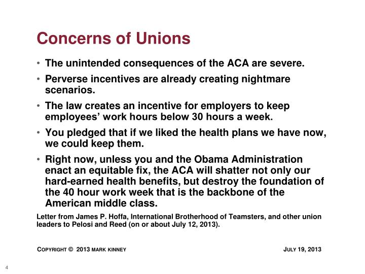 Concerns of Unions