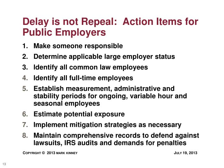 Delay is not Repeal:  Action Items for Public Employers