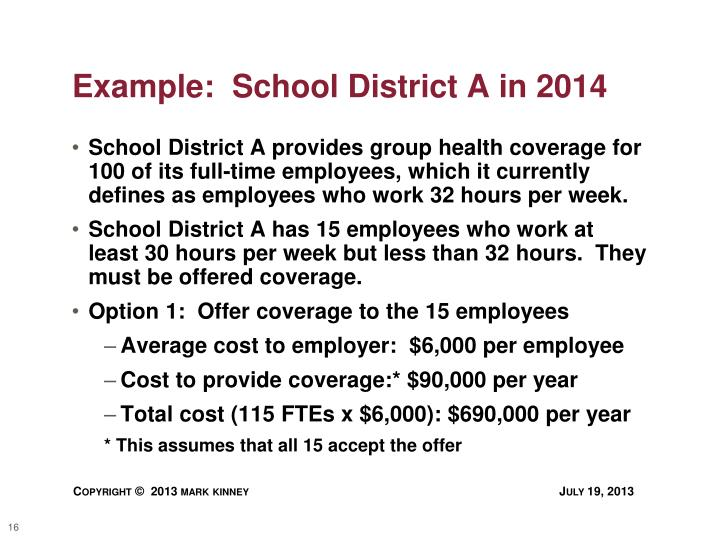 Example:  School District A in 2014