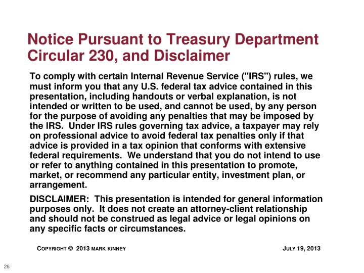 Notice Pursuant to Treasury Department Circular 230, and Disclaimer