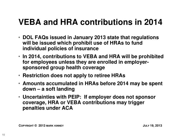 VEBA and HRA contributions in 2014
