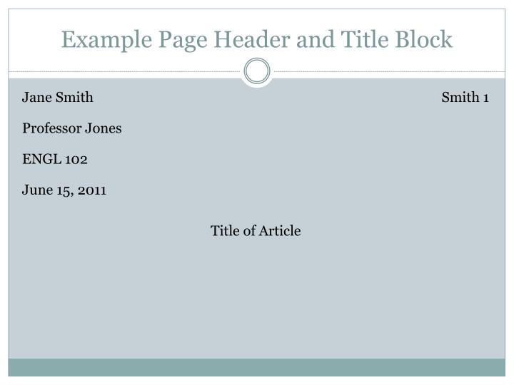 Example Page Header and Title Block