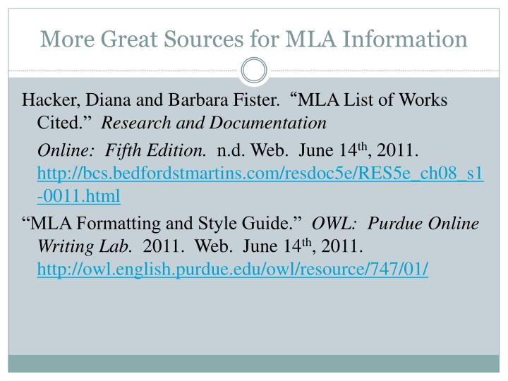More Great Sources for MLA Information
