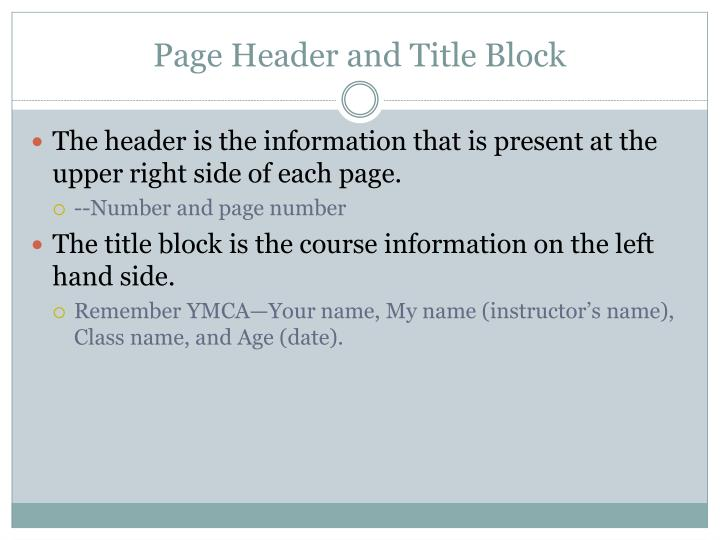 Page Header and Title Block